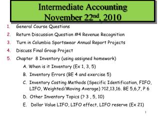 Intermediate Accounting November 22nd, 2010