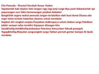 web Lirik Nasyid Cita Pemuda Sho NUZULUL ZULKARNAIN HAQ