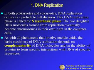 1.  DNA Replication