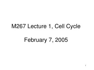 M267 Lecture 1, Cell Cycle February 7, 2005
