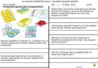 ALİ YALKIN İLKÖĞRETİM OKULU  2/A SINIFI ÇALIŞMA SAYFASI