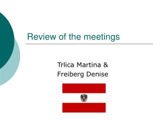 Review of the meetings