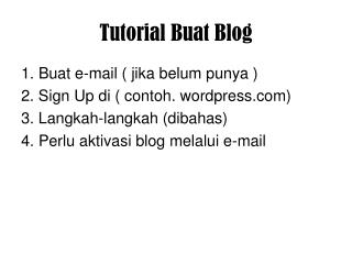 Tutorial Buat Blog