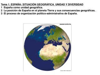 Tema 1. ESPAÑA: SITUACIÓN GEOGRÁFICA. UNIDAD Y DIVERSIDAD 1  España como unidad geográfica.