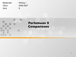 Pertemuan 9 Comparisons