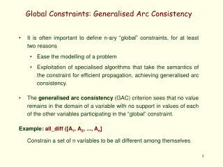 Global Constraints: Generalised Arc Consistency