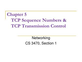 Chapter 5 TCP Sequence Numbers & TCP Transmission Control