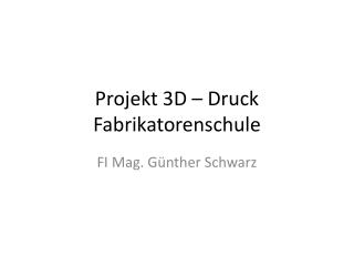 Projekt 3D – Druck Fabrikatorenschule