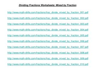 Dividing Fractions Worksheets: Mixed by Fraction