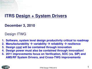 ITRS  Design + System Drivers December 3, 2010 Design ITWG