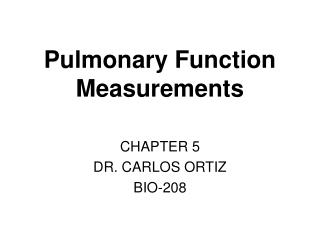 Pulmonary Function Measurements