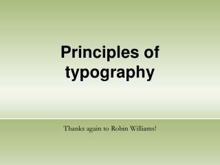 Principles of typography