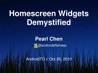 Homescreen  Widgets Demystified