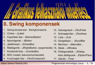 8. Swing komponensek 1.Swing konstansok  - SwingConstants 2.Címke – JLabel