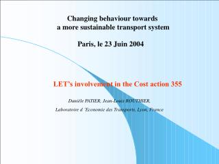 LET's involvement in the Cost action 355