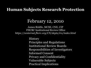 Human Subjects Research Protection