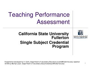 Teaching Performance Assessment