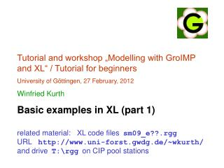 Tutorial and workshop �Modelling with GroIMP and XL� / Tutorial for beginners