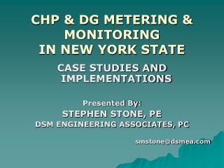 CHP & DG METERING & MONITORING IN NEW YORK STATE