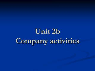 Unit 2b  Company activities
