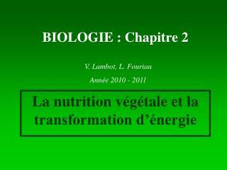 BIOLOGIE : Chapitre 2