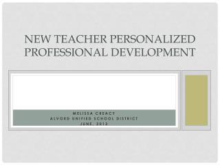 New Teacher Personalized Professional Development