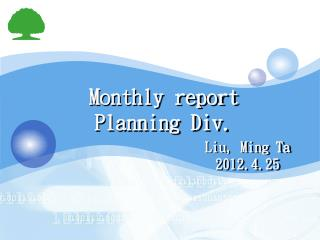 Monthly report  Planning Div.