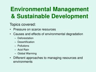 Environmental Management & Sustainable Development