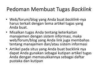 Pedoman Membuat Tugas  Backlink