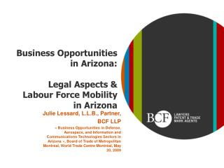 Business Opportunities in  Arizona : Legal Aspects & Labour Force Mobility in Arizona