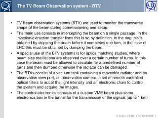 The TV Beam Observation system - BTV