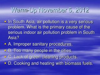Warm-Up November 5, 2012