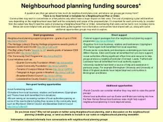 Neighbourhood planning funding sources*