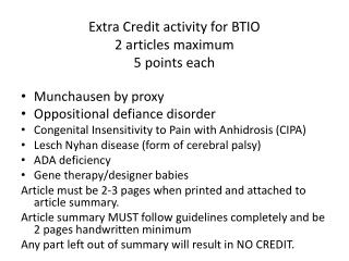 Extra Credit activity for BTIO 2 articles maximum 5 points each