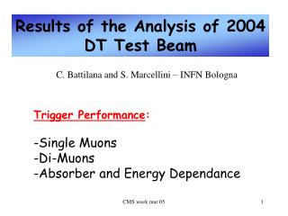 Results of the Analysis of 2004 DT Test Beam