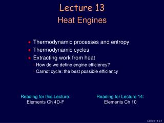 Lecture 13 Heat Engines