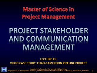 LECTURE 21:  VIDEO CASE STUDY: CHAD-CAMEROON PIPELINE PROJECT