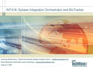 INT418: Sybase Integration Orchestrator and BizTracker