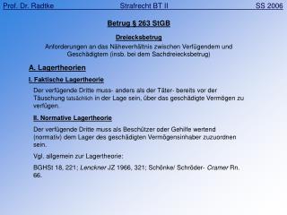 Betrug § 263 StGB Dreiecksbetrug