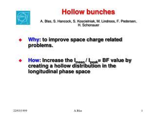 Hollow bunches A. Blas, S. Hancock, S. Koscielniak, M. Lindroos, F. Pedersen, H. Schonauer