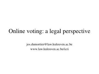 Online voting: a legal perspective