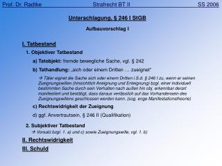 Unterschlagung, § 246 I StGB Aufbauvorschlag I
