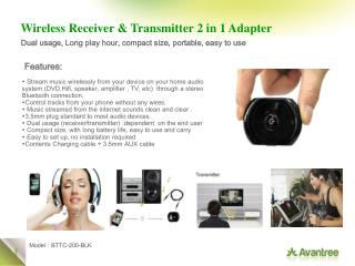 Wireless Receiver & Transmitter 2 in 1 Adapter