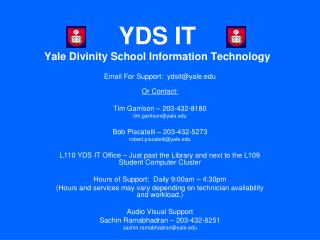 YDS IT Yale Divinity School Information Technology