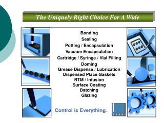Bonding Sealing Potting / Encapsulation Vacuum Encapsulation Cartridge / Syringe / Vial Filling