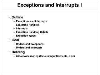 Exceptions and Interrupts 1