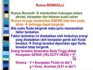Rumus BERNOULLI