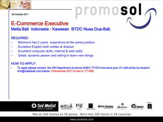 E-Commerce Executive  Melia Bali  Indonesia - Kawasan  BTDC Nusa Dua-Bali.