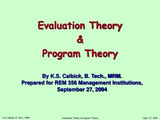 Evaluation Theory & Program Theory