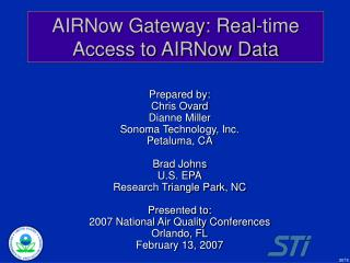 AIRNow Gateway: Real-time Access to AIRNow Data